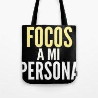 persona Tote Bags featuring FOCOS A MI PERSONA  by Cris Carrasmore