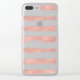 Elegant Rose Gold Metallic Handpainted Stripes Clear iPhone Case