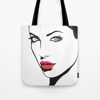 angelina jolie Tote Bags featuring Angelina Jolie by Tamsin Lucie