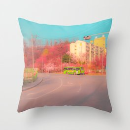 A vivid and dreamy spring season view in the Seoul, Korea  Throw Pillow