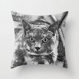AnimalArtBW_Cat_20170901_by_JAMColorsSpecial Throw Pillow