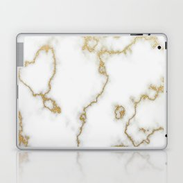 Luxury White Marble With Rich Gold Veins Laptop & iPad Skin