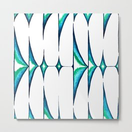 Soundwaves in Turquoise Metal Print