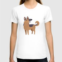 german shepherd T-shirts featuring German Shepherd by Claire Stamper