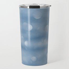 Blue sparkly defocused snowflakes Travel Mug
