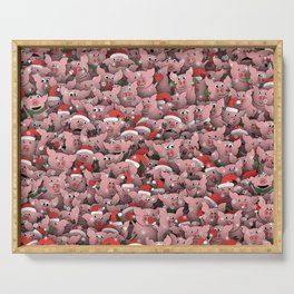 Christmas pigs Serving Tray