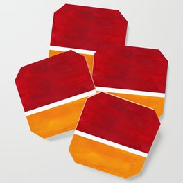 Burnt Red Yellow Ochre Mid Century Modern Abstract Minimalist Rothko Color Field Squares Coaster