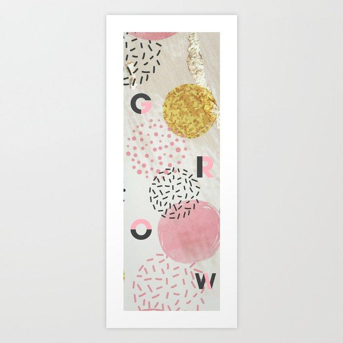 Yoga Mat - Grow | Pink & Gold Glitter Dots Art Print