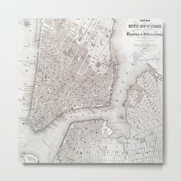 Vintage New York City Map Metal Print
