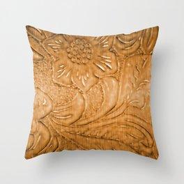 Golden Tan Tooled Leather Throw Pillow