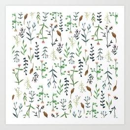 Flower stem pattern Art Print