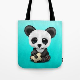 Cute Baby Panda With Football Soccer Ball Tote Bag