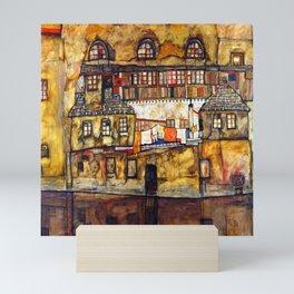 Egon Schiele House Wall on the River Mini Art Print