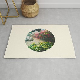 Pink Greenhouse Flowers Rug