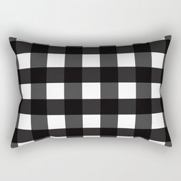 Contemporary Black & White Gingham Pattern Rectangular Pillow