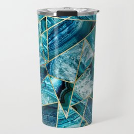 Turquoise Navy Blue Agate Black Gold Geometric Triangles Travel Mug