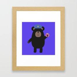 Black Bear Police Officer Framed Art Print
