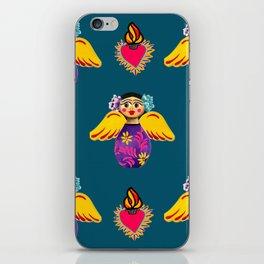Angels and Corazones (flaming hearts) iPhone Skin