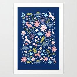 Dinosaur + Unicorn on Royal Blue Art Print