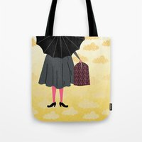 mary poppins Tote Bags featuring Mary Poppins by Prelude Posters