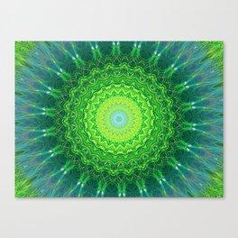 Glowing Green Ribbon Kaleidoscope Canvas Print