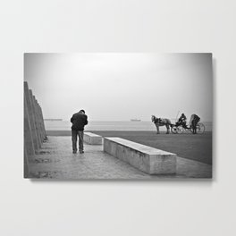 Vintage retro seaside scene people and a horse with a carriage Metal Print