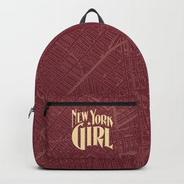 New York Girl BURGUNDY / Vintage typography redrawn and repurposed Backpack