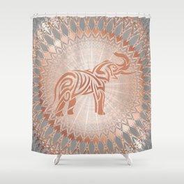 Rose Gold Gray Elephant Mandala Shower Curtain
