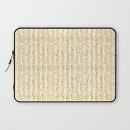 Buttercup Yellow Flower Blossoms on Butter Yellow Streaky Stripes Laptop Sleeve