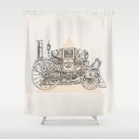steam punk Shower Curtains featuring Steam punk carriage by grop