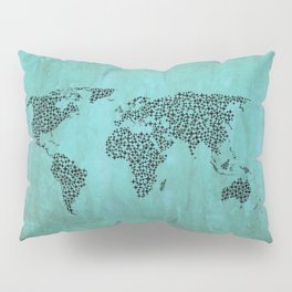 Teal Star World Map Pillow Sham