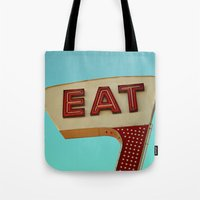 eat Tote Bags featuring Eat by bomobob