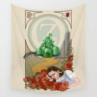 oz Wall Tapestries featuring Dorothy and OZ ( art nouveau style ) by Pendientera