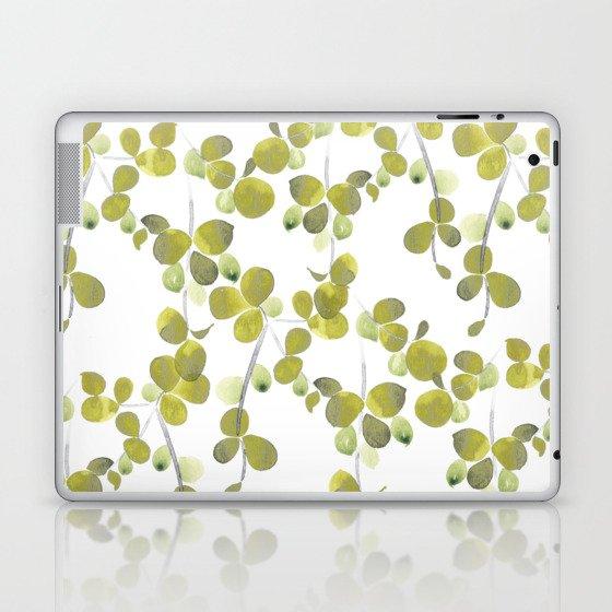 Watercolor painted leaves pattern Laptop & iPad Skin