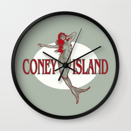 Coney Island Mermaid Wall Clock