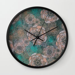 Peony Flowers Peach and Green Wall Clock