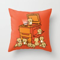 threadless Throw Pillows featuring The Original Copycat by Picomodi