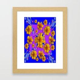 Golden Blanket Flowers, Morning Glories Blue Art Framed Art Print