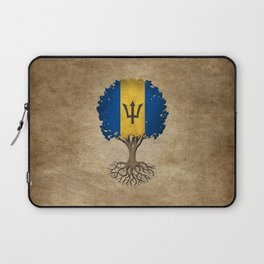 Vintage Tree of Life with Flag of Barbados Laptop Sleeve