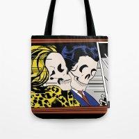 lichtenstein Tote Bags featuring Homenaje a Lichtenstein by Leo Peralta