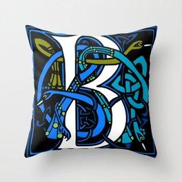 Celtic Peacocks Letter B Throw Pillow