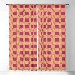 Gingham Plaid Checks Red Brown Tones Checkered Pattern Blackout Curtain