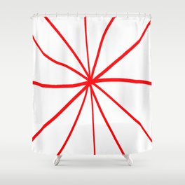 Funnies stripes 13 red Shower Curtain