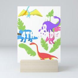 Roaring Into 4th Grade Fourth Grader Dinosaur School Tee  Mini Art Print