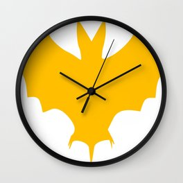 Orange-Yellow Silhouette Of a Bat  Wall Clock