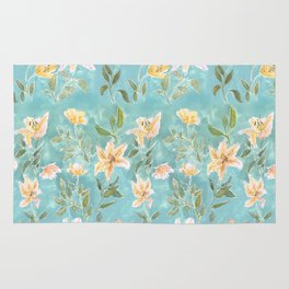 Mint Botanical Pattern Rug