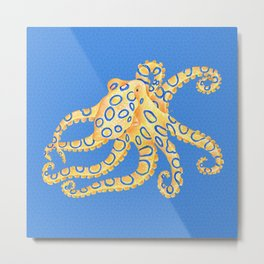 Blue Ring Octopus Metal Print