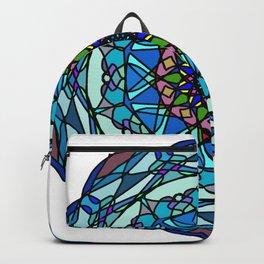 Colored hand painted vinyl mandala Backpack