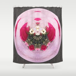 Pink/Gray Rose Abstract Shower Curtain