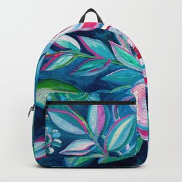 Tropical Camellia Extravaganza - oil on canvas Backpack